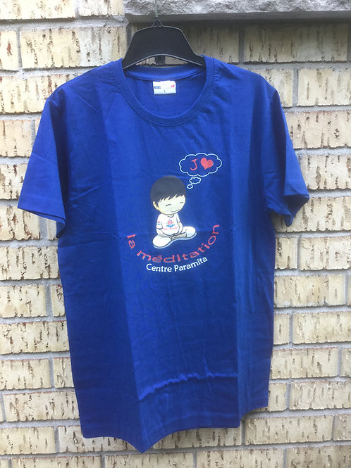 T-shirt XX-Large,royal blue coton with Logo J'aime la méditation