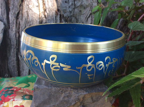 Tibetan singing bowl 12 cm, blue and gold painted