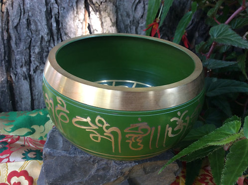Tibetan singing bowl 10 cm, painted in green and gold