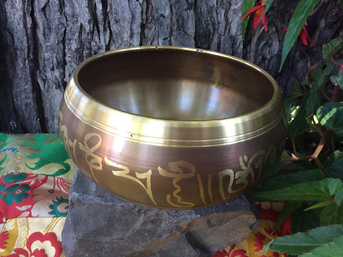 Tibetan singing bowl 12 cm, beige and gold