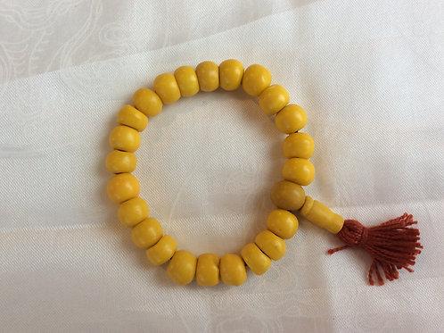 Bracelet mala en os coloré jaune