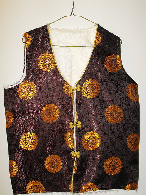 Tibetan sleeveless jacket witn golden motifs on brown satin
