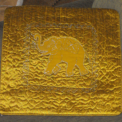 Cushion covers(2) in gold satin with embroidered elephant