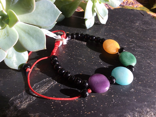 Bracelet handmade in Tibet, with stone and glass beads,ajustable