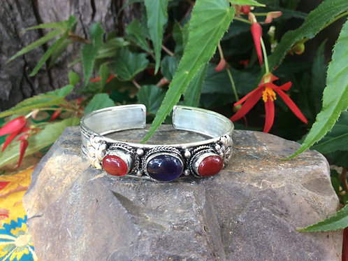 Cuff bracelet handcrafted in India with Amethyst and Red Jaspe gemstone