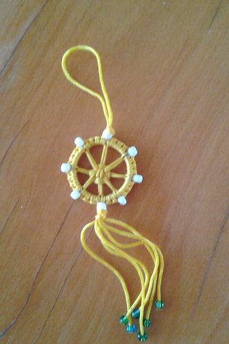 Mini Dharma wheel in yellow strings, handmade in Tibet