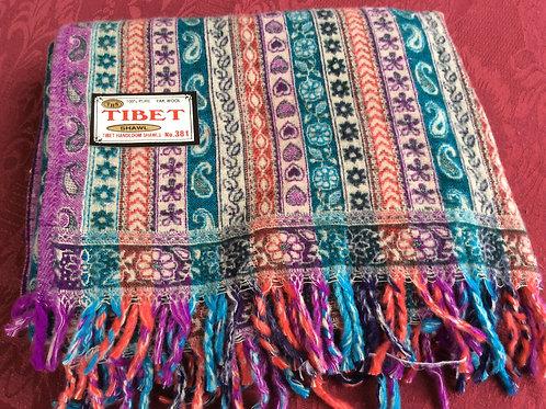 Châle épais Tibet rouge-bleu #381