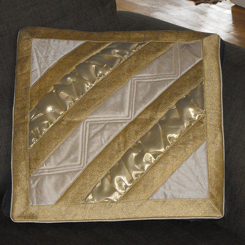 Cushion covers(2) in gold and white satin with zipper