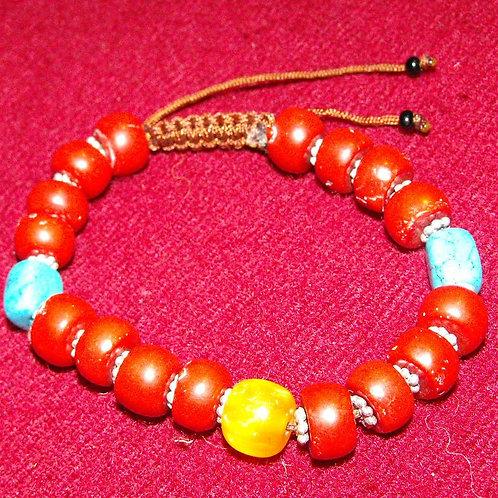 Bracelet de perles de verre rouges