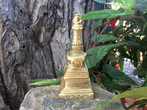 Tibetan brass stupa for altar, 9 cm