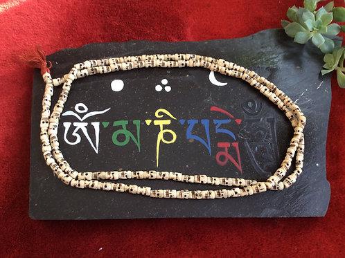 Buddhist mala in white bone beads 130 cm