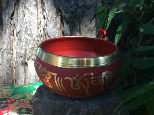 Tibetan singing bowl 10 cm, painted in red and gold