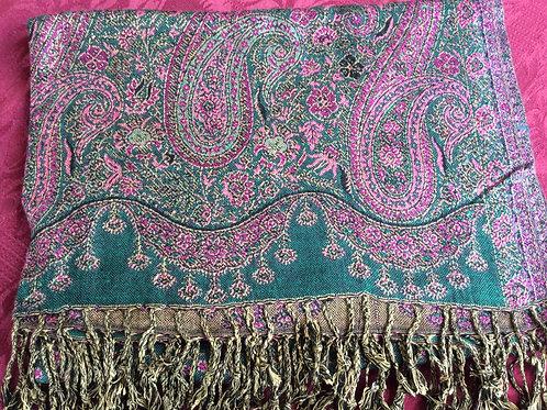Châle pashmina rose-vert avec motif