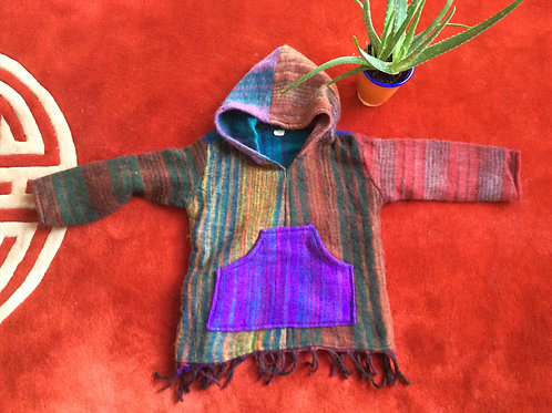 Tibetan hooded sweater for children with warm wool like fabric