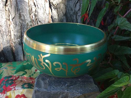 Bol chantant peint vert   14 cm