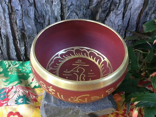 Tibetan singing bowl 14 cm, painted in red and gold