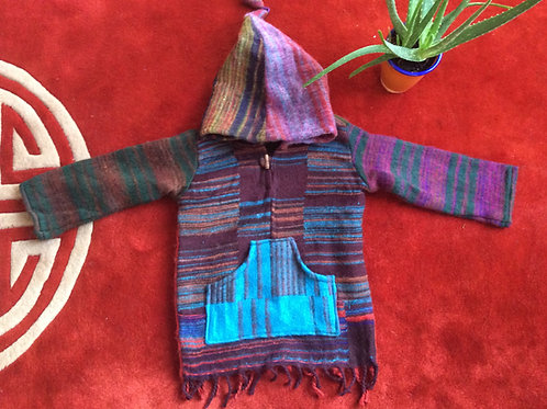 Tibetan hooded sweater for children with wool like fabric