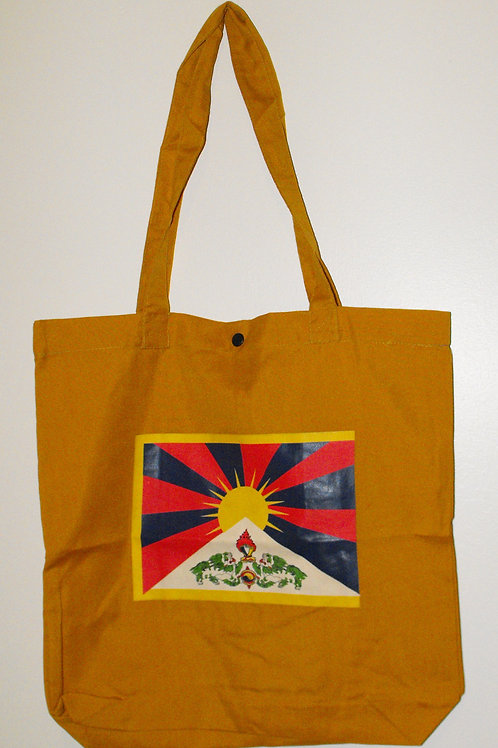 Sac à poignées jaune avec drapeau Tibet