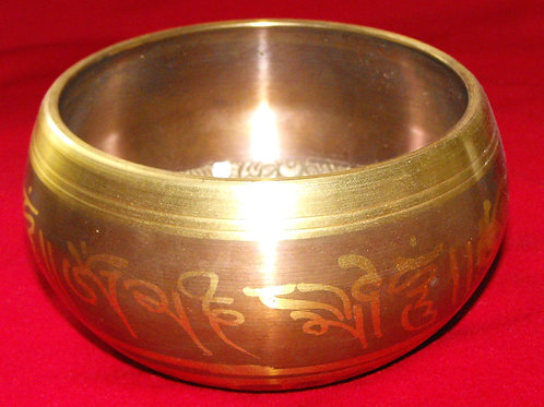 Tibetan singing bowl 13 cm, beige and gold painted