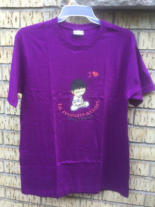 T-shirt X-Large purple cotton with Logo J'aime la méditation