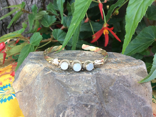 Cuff Bracelet handcrafted in India in 3 metals with white Quartz