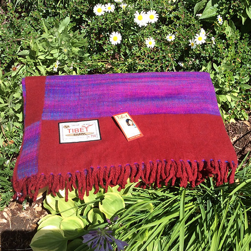 Shawl with thick warm like wool fabric in red and violet