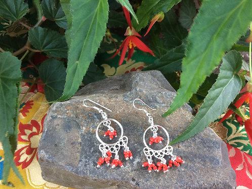 Earrings indian style, silverlike with orange beads