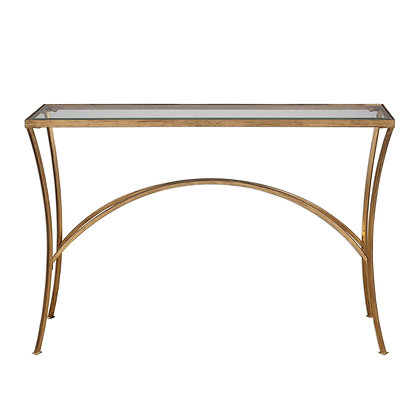 Gold Leaf Iron Console Table