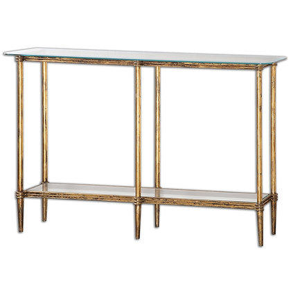 Gold Leaf Iron + Glass Console Table