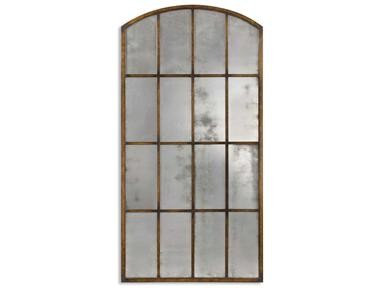 IRON ANTIQUED ARCHED MIRROR