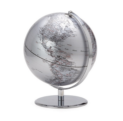 Silver Globe on Metal Stand