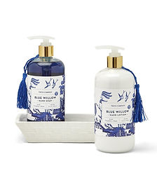 Blue and White Soap and Lotion Set with Ceramic Caddy Sandalwood Scent.jpg