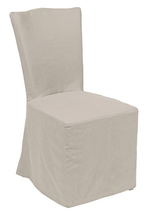Set/2 Camel Tie-Back Slipcover Chairs