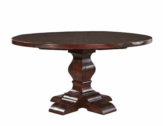 "Round Mahogany Pedestal Dining Table 60"""