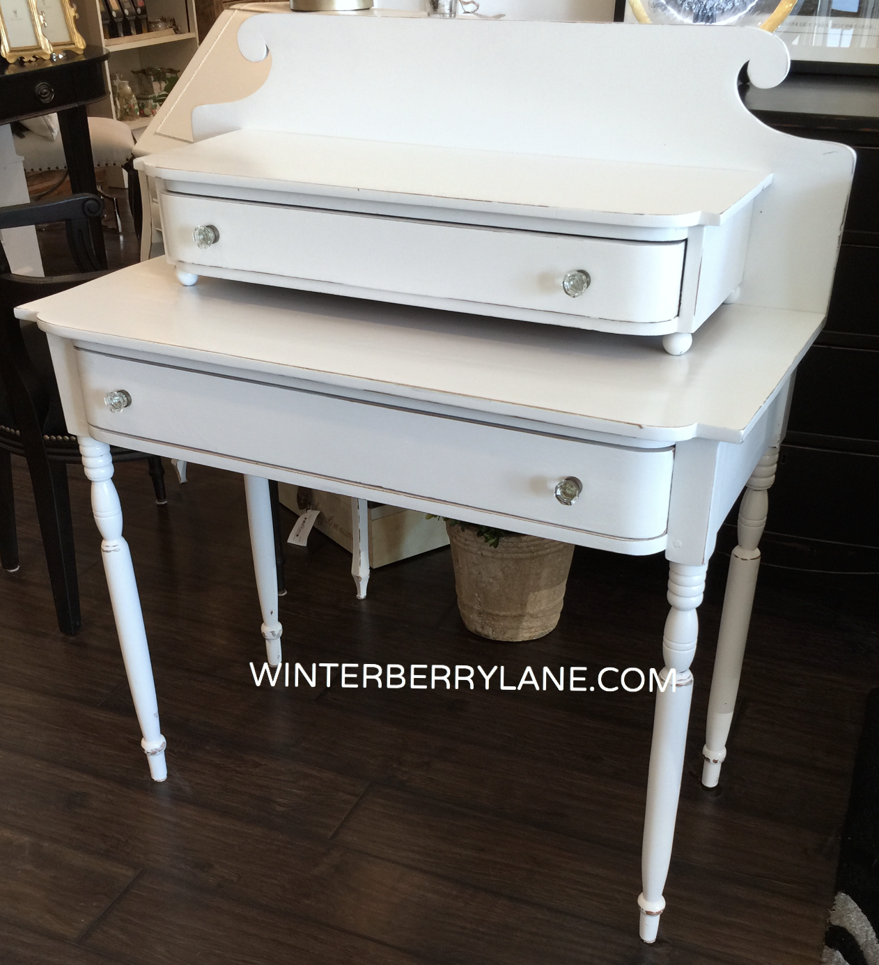 VINTAGE DOUBLE-TIER/DRAWER DESK