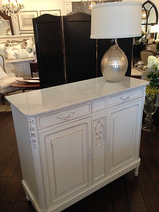 French Antique Painted Marble-Top Sideboard