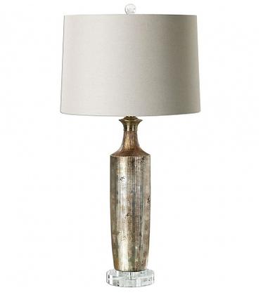 Metallic Bronze Ceramic + Crystal Lamp