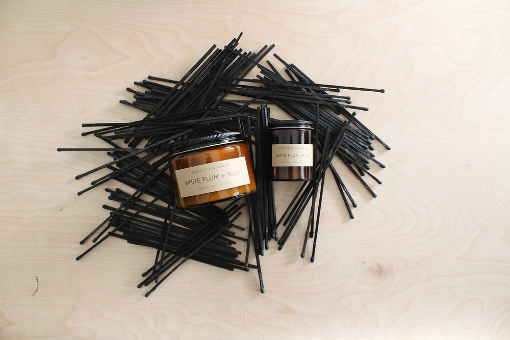 Amber jars, pure soy wax, wood wick candles | Sweet Dish And Darling