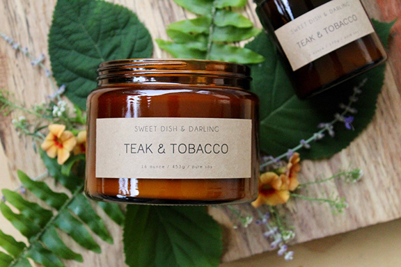 teak and tobacco candle, wood wick