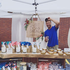 Friendly faces at the Cleveland Flea! Todd watches over our work as we offer tons of unique smells