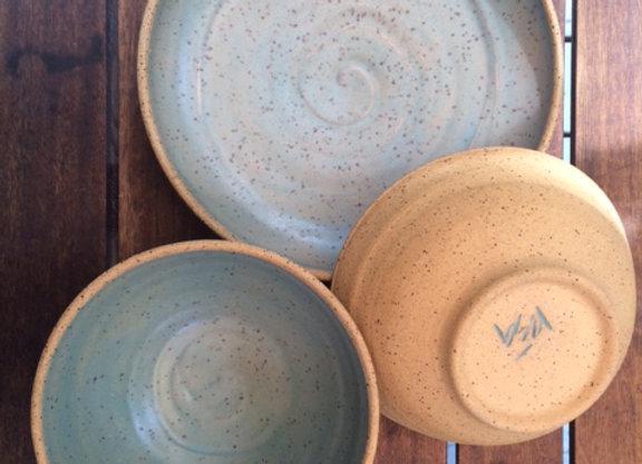 Aqua on Wheat Bowls with Server