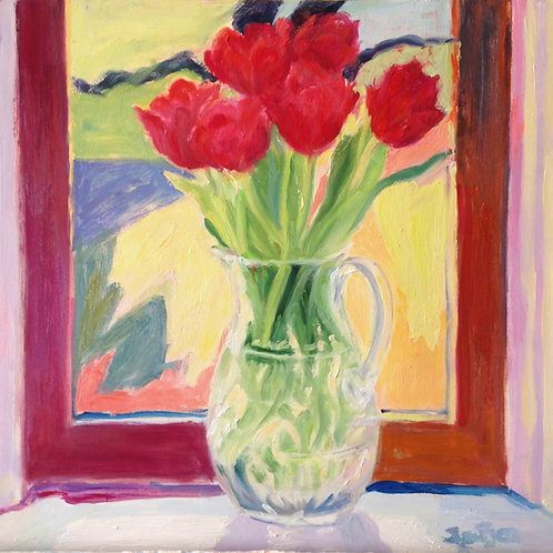 Tulips in Crystal Pitcher (framed)