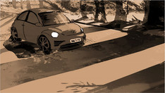 Shot 2: Front of Car Begins Pan
