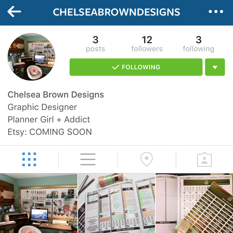 The Chelsea Brown Designs Instagram account when it first started.