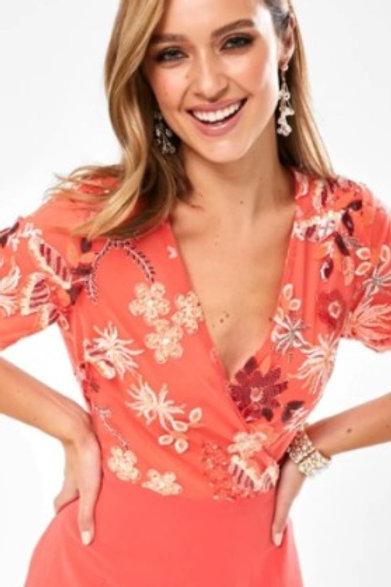 Coral Embellished Top Dress