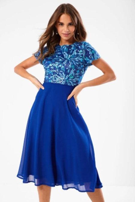 Blue Embellished dress