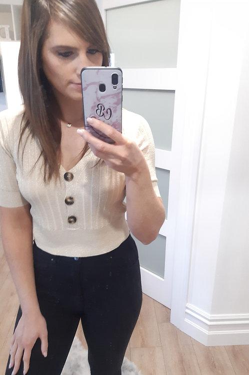 Button Short Sleeve Top
