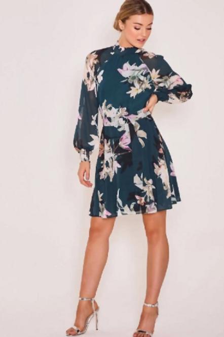 Teal Floral Belted Dress