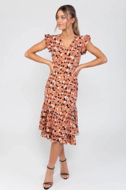 Rust Ruffle Dress