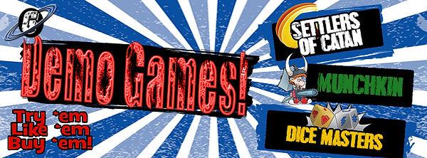 Galactic Greg's, Galacti-Con, Settlers of Catan, Munchkin, Dice Masters
